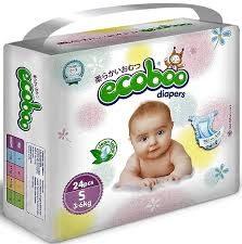 Детские одноразовые подгузники ECOBOO, S (3-6 кг)